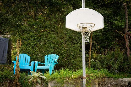 A photo of an outdoor basketball hoop