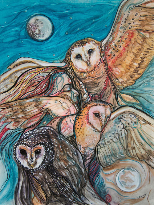 A painting of several owls