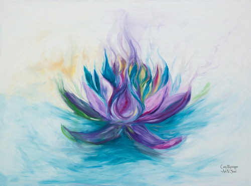 A painting of a purple lotus flower on a white background