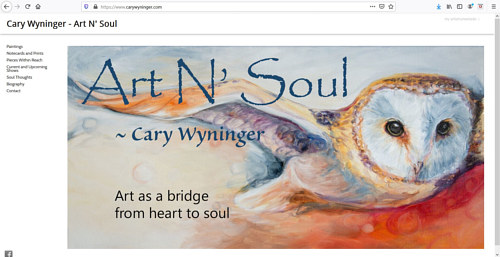 A screen capture of Cary Wyninger's art portfolio website