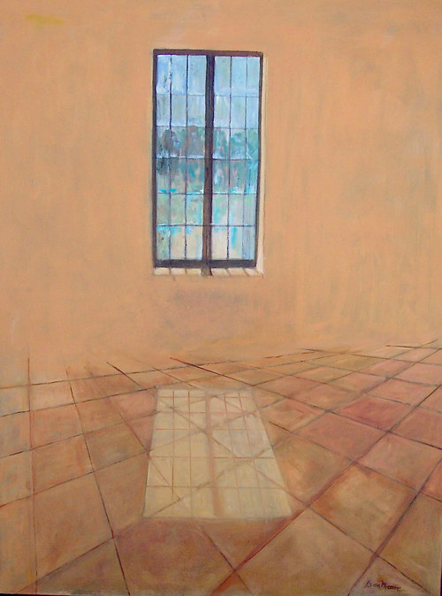A painting of a room with a window reflecting on the floor