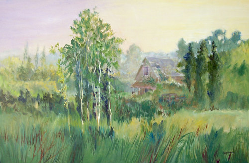 A painting of a green meadow
