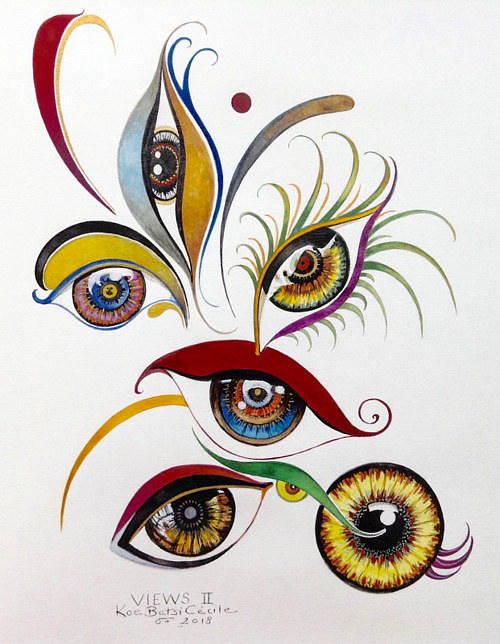 A watercolour painting of stylized eyes