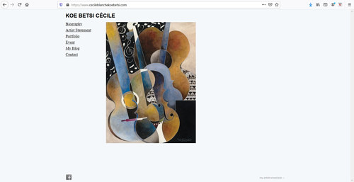 A screen capture of Cecile Blanche's art portfolio website
