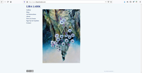 A screen capture of Liba Labik's art portfolio website