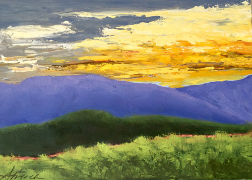 A painting of a landscape at sunset