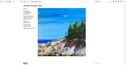 A screen capture of Anne French's art portfolio website