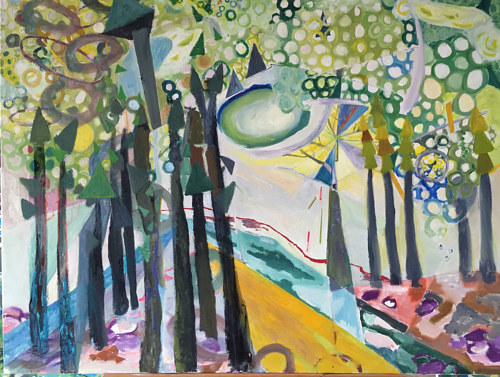 A painting with trees and abstract shapes