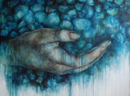 painting of a hand with an aqua blue background