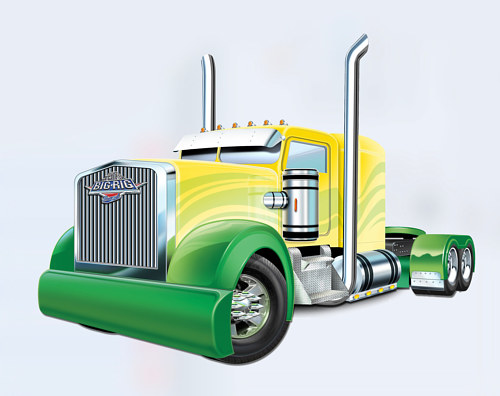 An illustration of a semi truck