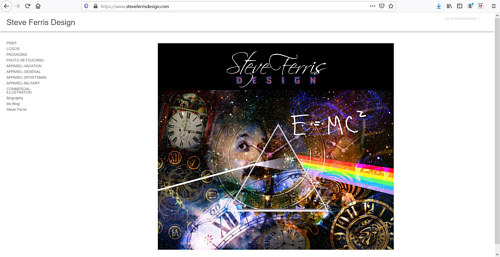 A screen capture of Steve Ferris' art portfolio website