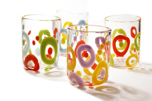 A selection of blown glass tumblers with coloured detailing