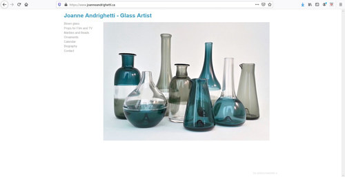 The front page of Joanne Andrighetti's glass art website