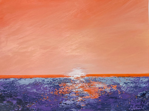 A painting of an orange sunset over water