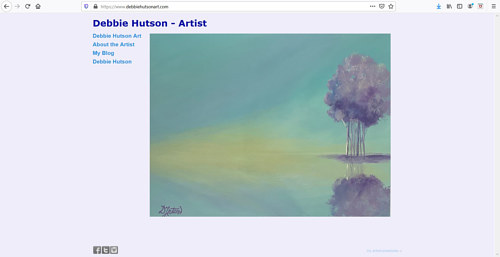 A screen capture of Debbie Hutson's art portfolio website