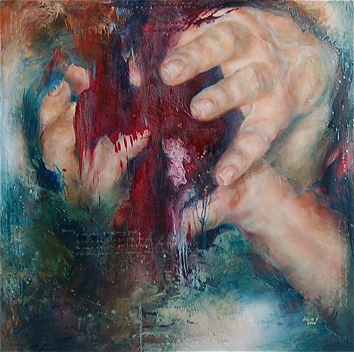 painting of two hands with dripping paint