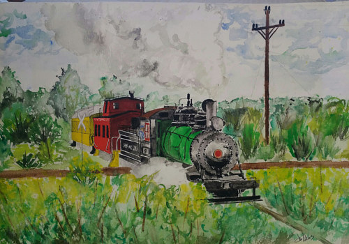 A watercolour painting of a train