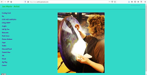 The front page of Jan Marie's art portfolio website