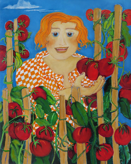 A painting of a woman surrounded with tomatoes