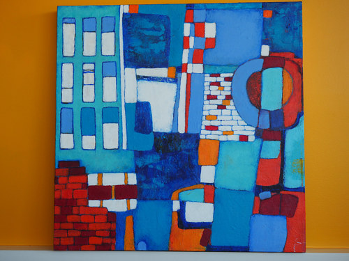 An abstract painting incorporating elements of brick texture