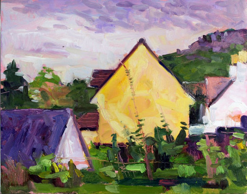 A painting of a house in a rural area