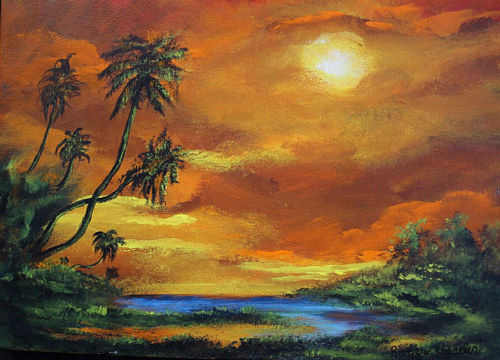 A painting of a Florida sunset
