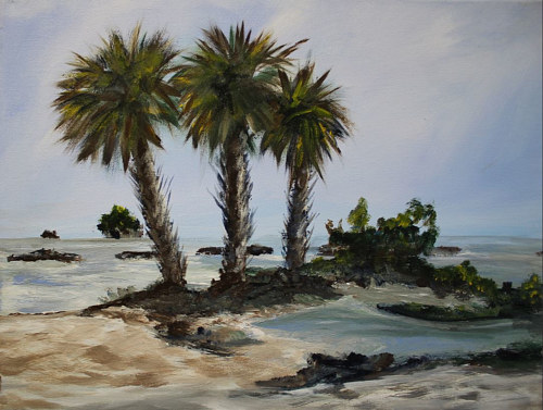 A painting of palm trees on a beach