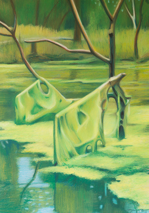 A pastel drawing of a mossy branch in a swamp