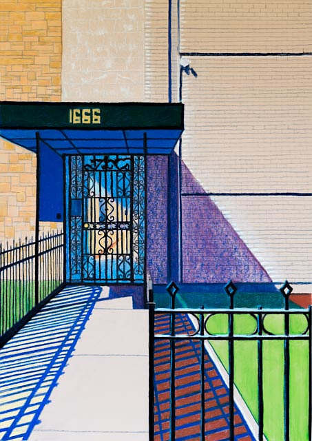 A pastel drawing of the entrance to a building