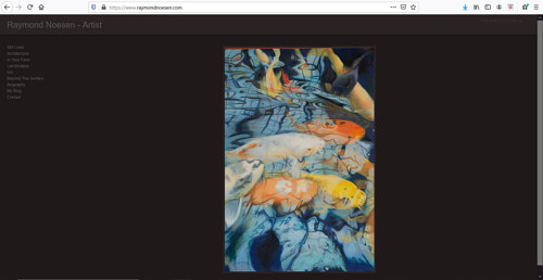 A screen capture of Raymond Noesen's art portfolio website