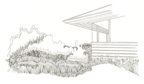 ink drawing of a house and landscape