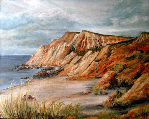 A painting of seaside cliffs made in acrylic