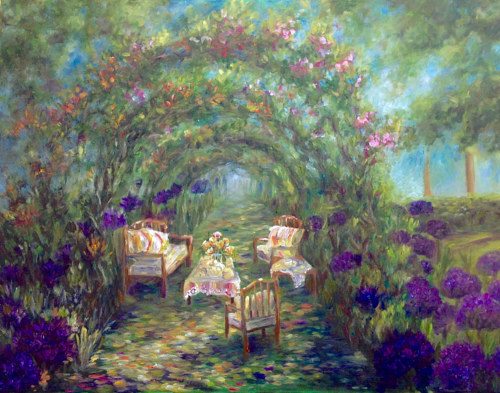 A painting of chairs arranged in a dense garden