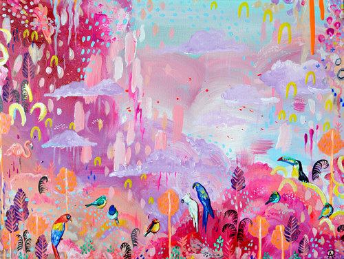 A pink-hued abstract painting with birds