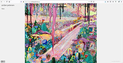 A screen capture of Amber Petersen's art portfolio website