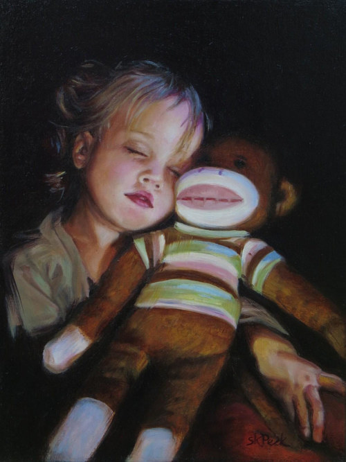 A painting of a girl sleeping next to a plush toy