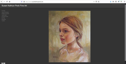 A screen capture of Susan Kathryn Peck's art portfolio website