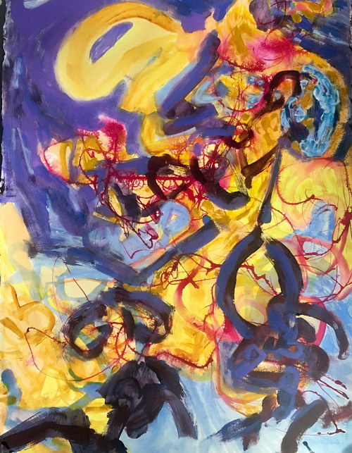 An abstract painting made with yellow and purple tones