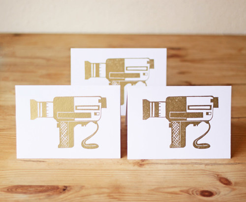 A set of handmade cards printed with an image of a super 8 camera