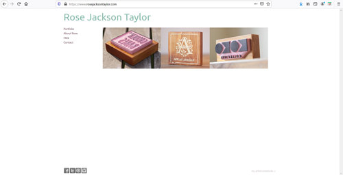 A screen capture of Rose Jackson Taylor's art portfolio website
