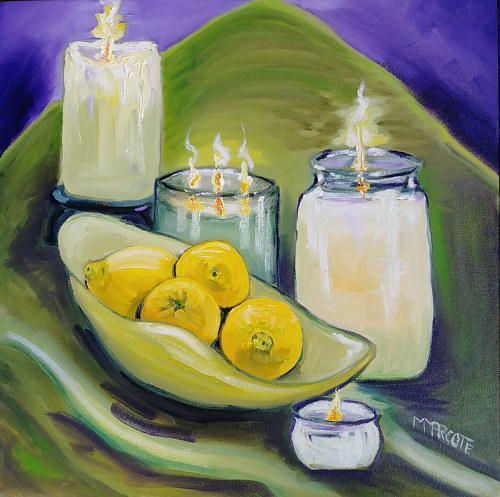 A painting of a bowl of lemons surrounded by candles
