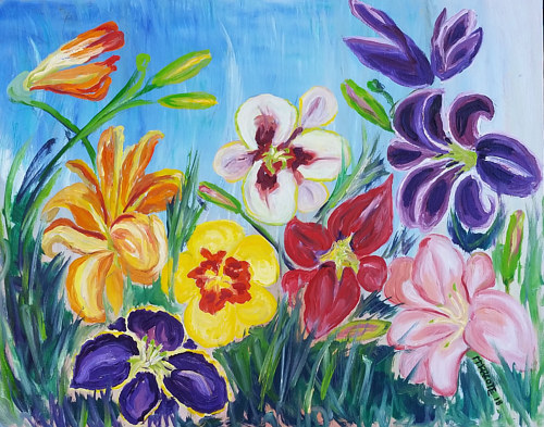 A painting of a lush garden of lilies