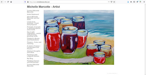 The front page of Michelle Marcotte's painting website