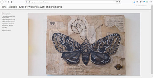 A screen capture of Tina Tavolacci's art portfolio website