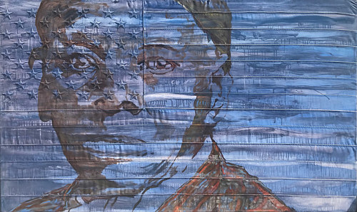 A painting of Harriet Tubman on a hand-embroidered American flag