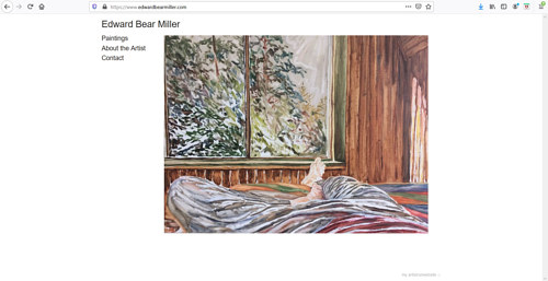 A screen capture of Edward Bear Miller's art portfolio website