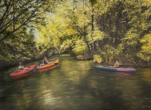 A painting of people in canoes in a river