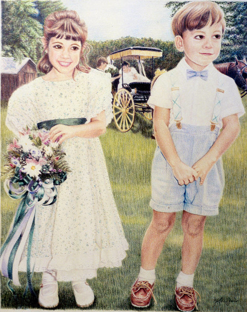 A pencil crayon drawing of two children in formal clothes