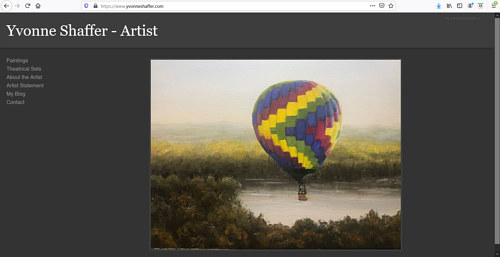 A screen capture of Yvonne Shaffer's art portfolio website