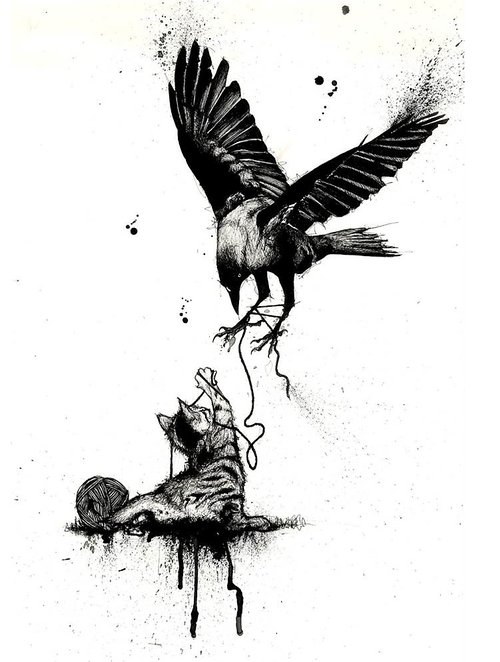 ink drawing of a bird and cat playing with string